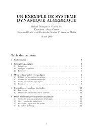DYNAMIQUE ALGEBRIQUE