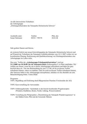 Einladung für Sitzung 21. 02. 2008 - Naturpark Holsteinische Schweiz