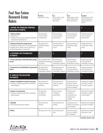 fuel fuel your future research essay rubric future city competition