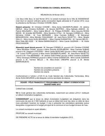 COMPTE-RENDU DU CONSEIL MUNICIPAL ... - Sassenage