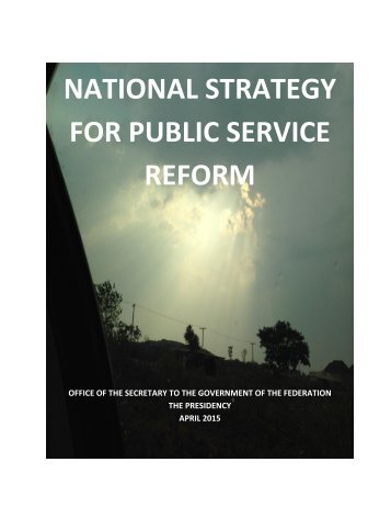 NATIONAL STRATEGY FOR PUBLIC SERVICE REFORM