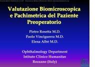 Valutazione Biomicroscopica e Pachimetrica del Paziente Preoperatorio