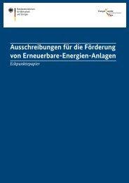 Ausschreibungen für die Förderung von Erneuerbare-Energien-Anlagen