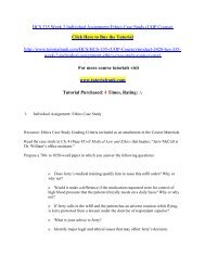 HCS 335 Week 2 Individual Assignment Ethics Case Study/Tutorialrank