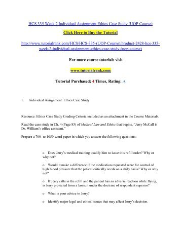 HCS 335 Week 2 Individual Assignment Ethics Case Study/Tutorialrank