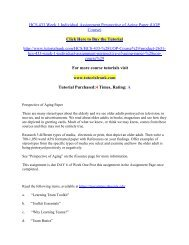 HCS 433 Week 1 Individual Assignment Perspective of Aging Paper/Tutorialrank