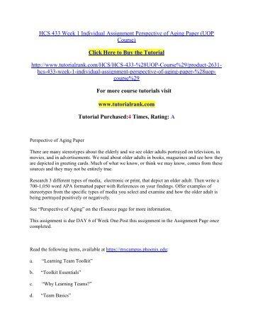 HCS 433 Week 1 Individual Assignment Perspective of Aging Paper/Tutorialrank