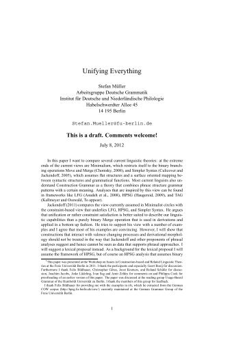 Unifying Everything - German Grammar Group FU Berlin - Freie ...