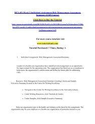 HCS 451 Week 2 Individual Assignment Risk Management Assessment Summary/Tutorialrank