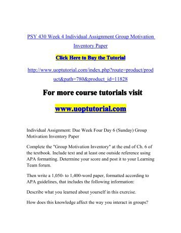 PSY 430 Week 4 Individual Assignment Group Motivation Inventory Paper