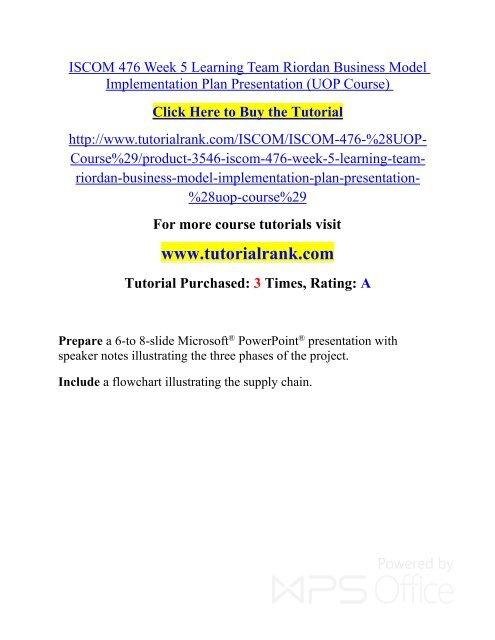 ISCOM 476 Week 5 Learning Team Riordan Business Model Implementation