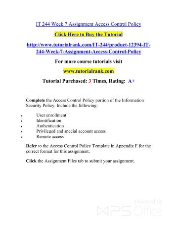 It 244 week 7 assignment access control policy new it 244 week 7 assignment access control policy tutorialrank maxwellsz