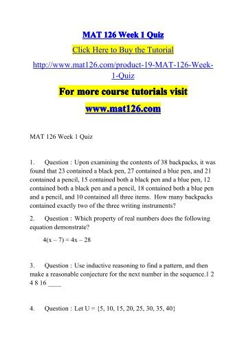 mat 126 week 4 quiz Eco 204 week 4 quiz  eco 204 week 4 dq 2 barriers to entry $359 add to cart eco 204 week 4 dq 1 market structures  mat 126 mat 221 mat 222 mat.