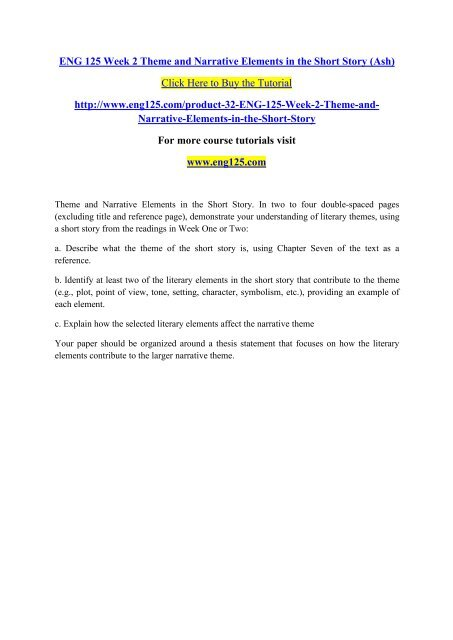 Short story elements pdf
