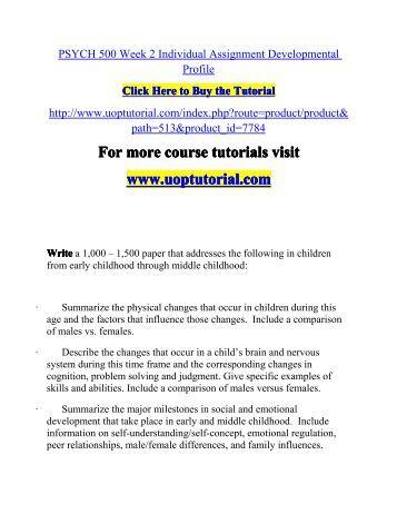 Developmental psychology assignment