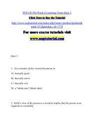 PSYCH 504 Week 4 Learning Team Quiz 3