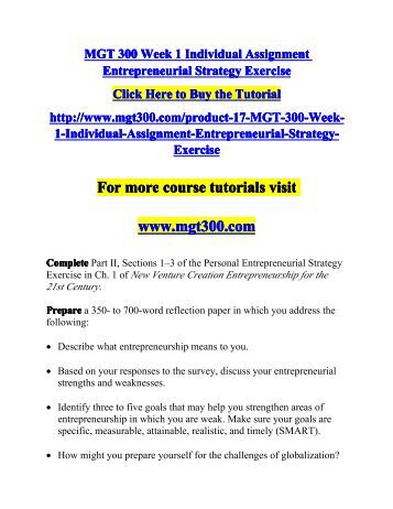 assignment guide for entrepeunership The msc in business strategy & entrepreneurship is designed for graduates  seeking a rigorous foundation prior to launching their own company or entering  an.