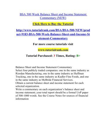 Bsa  Week Balance Sheet And Income Statement Commentary NewPdf