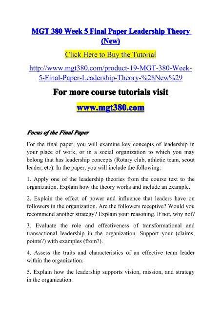 MGT 380 Week 5 Final Paper Leadership Theory (New)