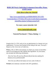 BSHS 305 Week 4 Individual Assignment Interoffice Memo/TutorialRank
