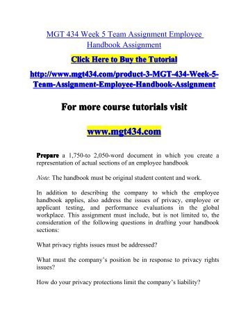 MGT - 434 - Week 2 - Employer - Employee Relationship Paper