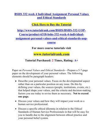 bshs 332 ethical dilemma in the workplace Paper on workplace ethical dilemma—submit a 3-5-page paper dealing with a workplace ethical dilemma that you have either experienced personally, or that you are otherwise familiar with this paper may be written in first person however the format must be written in apa-style with at least two references, and must address:  bshs 332 week 2.