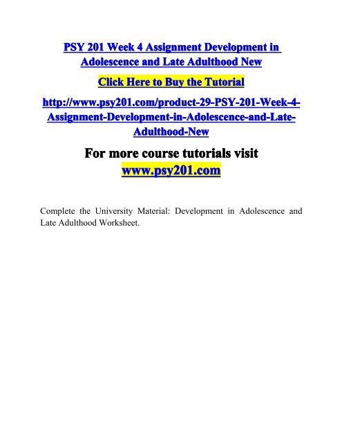 Development in adolescence and late adulthood