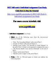MGT 448 week 4 Individual Assignment Case Study