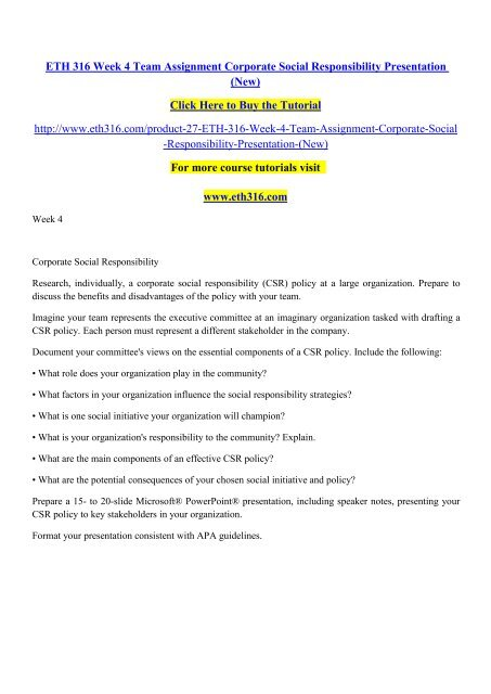 ETH 316 Week 4 Team Assignment Corporate Social