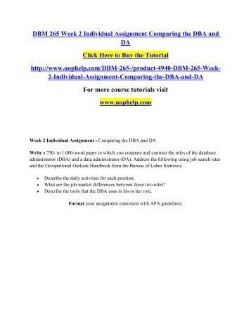 DBM 265 Week 2 Individual Assignment Comparing the DBA and DA.pdf