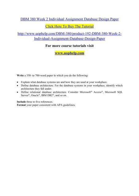 DBM 380 Week 2 Individual Assignment Database Design Paper pdf