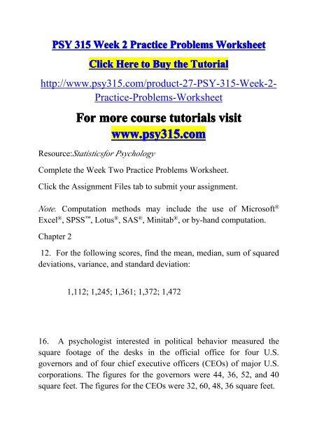 PSY 315 Week 2 Practice Problems