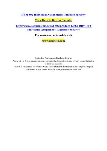 DBM 502 Individual Assignment Database Security.pdf