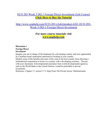 ECO 203 Week 5 DQ 1 Foreign Direct Investment (Ash Course).pdf