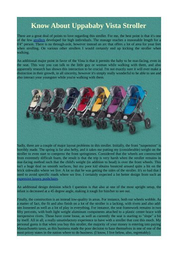 Know About Uppababy Vista Stroller