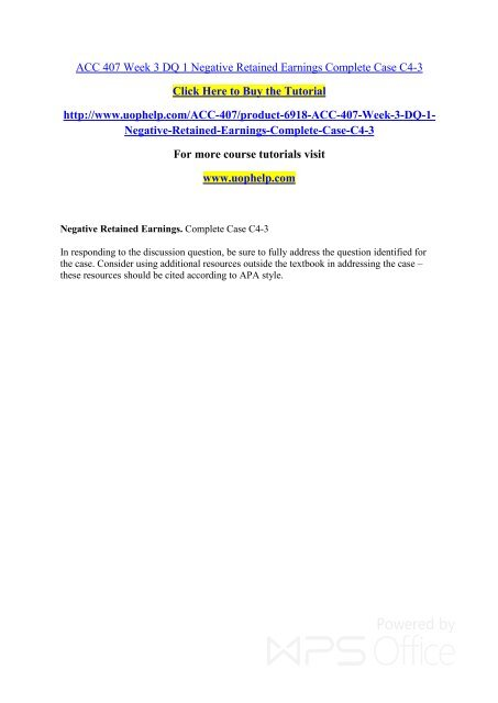 ACC 407 Week 3 DQ 1 Negative Retained Earnings Complete Case
