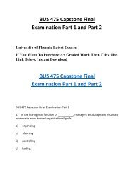 BUS 475 Capstone Final Examination Part 1 and Part 2 HomeWork Help For UOP Students