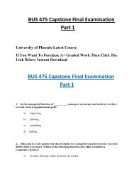 BUS 475 Capstone Final Examination Part 1 HomeWork Help For UOP Students