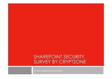 SHAREPOINT SECURITY SURVEY BY CRYPTZONE