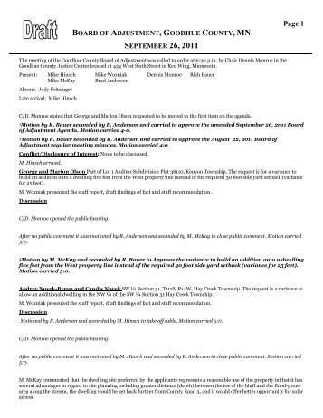 board of adjustment, goodhue county, mn september 26, 2011