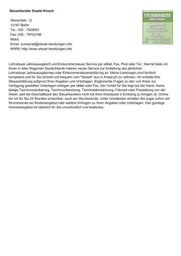Steuerberater Ewald Hinsch Albrechtstr. 12 12167 Berlin Tel.: 030 ...