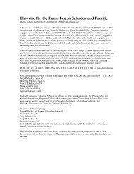 Hinweise für die Franz Joseph Schaden und Familie