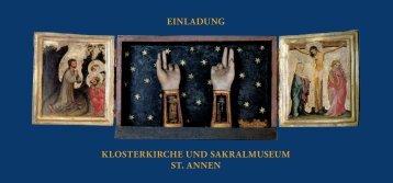 EINLADUNG KLOSTERKIRCHE UND SAKRALMUSEUM ST. ANNEN