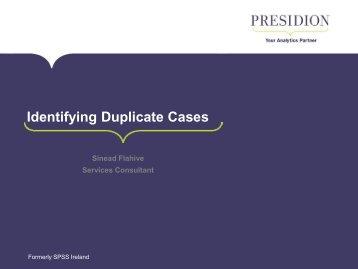 Identifying Duplicate Cases