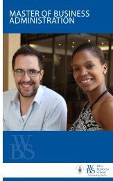 Master of Business adMinistration - Wits Business School