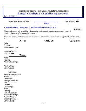 Rental Condition Checklist Agreement