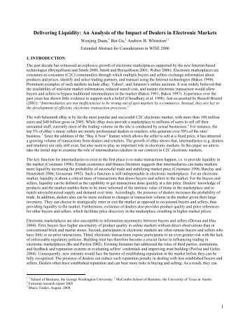 Delivering Liquidity An Analysis of the Impact of Dealers in Electronic Markets