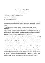 Haushaltsrede der FDP - Fraktion Haushalt 2010 ... - Stadt Viersen