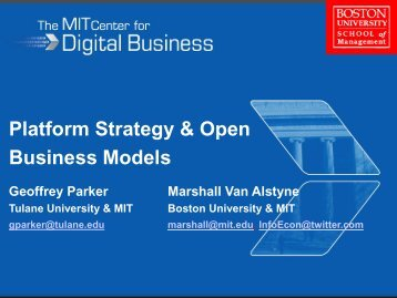 Platform Strategy & Open Business Models - MIT