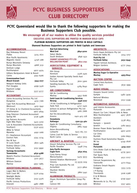 PcYc Business SuPPorters CluB DirectorY - PCYC Queensland